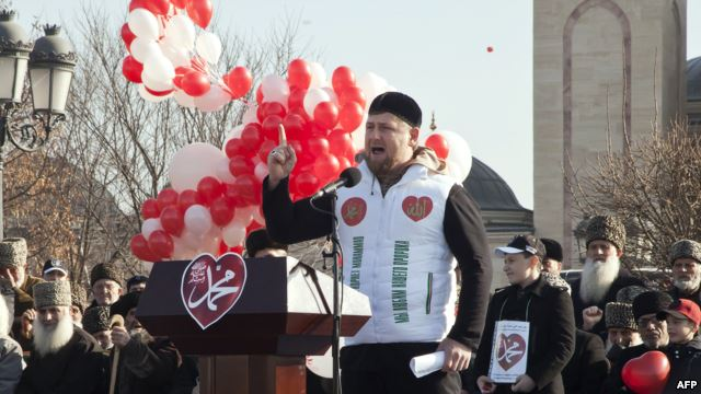 Chechen leader Ramzan Kadyrov speaks at a rally in Grozny on January 19 against the publication of cartoons by French weekly Charlie Hebdo.