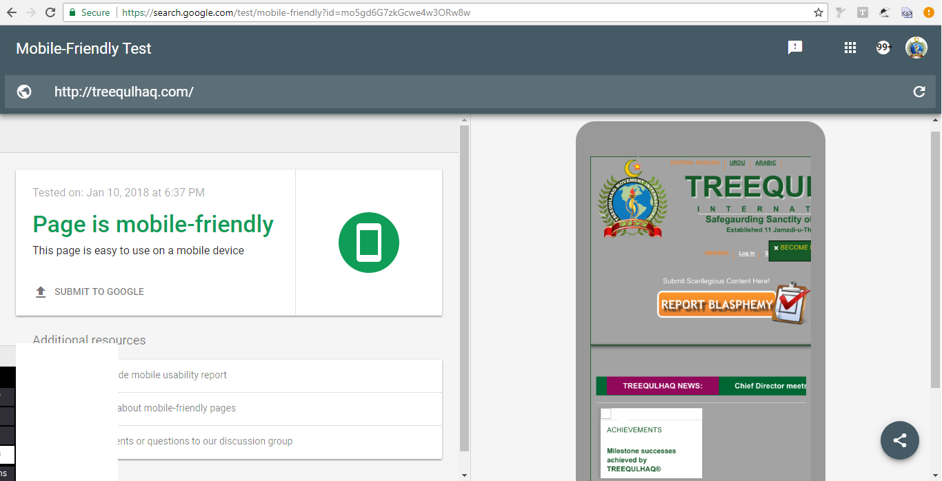 Treequlhaq.com is mobile friendly